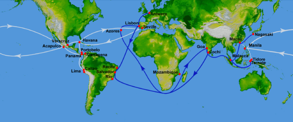 16th Century Portuguese Spanish Trade Routes Png